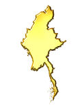 Myanmar 3d Golden Map. Isolated in white Royalty Free Stock Photo