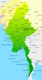 Myanmar. Vector map of Myanmar country Stock Images