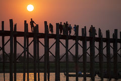 Myanmar. Amarapura the ancient capital of Myanmar. The bridge Stock Images