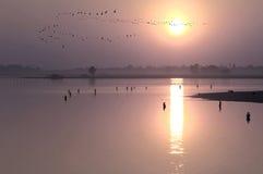Myanmar, Amarapura, U Bein bridge Royalty Free Stock Images