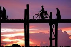 Myanmar, Amarapura, U Bein bridge Royalty Free Stock Images