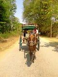 Myanmar - April 21, 2013: De toeristen berijden op een paardvervoer voor Stock Afbeeldingen