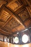Myanmar art on ceiling at wood Church of Nyan Shwe Kgua temple. Stock Image
