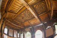 Myanmar art on ceiling at wood Church of Nyan Shwe Kgua temple. Stock Photos