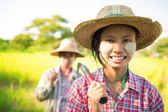 Myanmar Asian traditional farmer Stock Photo