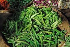 Myanmar, Bagan: groenten bij de markt Stock Afbeelding
