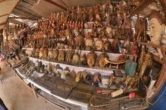 Myanmar Bagan antique market handcraft. Myanmar Bagan maket selling wooden engraved handcraft stock photography