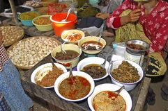 Myanmar, Bagan: Myanmar food. Different food at the local market Royalty Free Stock Photography