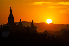 Myanmar, bagan at sunset Stock Image