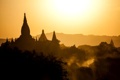 Myanmar, bagan at sunset Stock Images