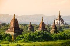 Myanmar bagan temples light burma travel Pagan Kingdom. Sunset Royalty Free Stock Image