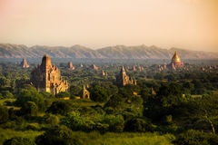 Myanmar bagan temples light burma travel Pagan Kingdom. Sunset stock image