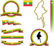 Myanmar Banner Set. Stock Photos