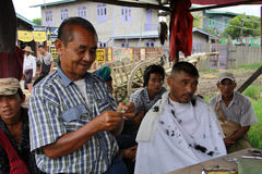 Myanmar barber shop Royalty Free Stock Photography