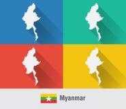 Myanmar Birma światowa mapa w mieszkanie stylu z 4 kolorami Fotografia Royalty Free
