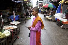Myanmar Buddhist Nun Royalty Free Stock Photography