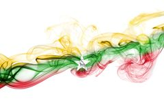 Myanmar, Burma flag smoke isolated on a white background. Myanmar, Burma smoke flag isolated on a white background Royalty Free Stock Images