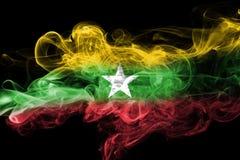 Myanmar, Burma flag smoke Royalty Free Stock Photos