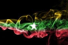 Myanmar, Burma flag smoke Royalty Free Stock Photo