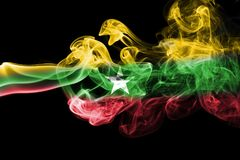 Myanmar, Burma flag smoke Stock Photos
