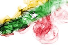 Myanmar, Burma flag smoke. Myanmar, Burma smoke flag isolated on a white background Stock Image