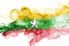 Myanmar, Burma flag smoke. Myanmar, Burma smoke flag isolated on a white background Stock Photos