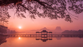 Myanmar (Burma) Hpa An lake at sunrise. Asian landmark Royalty Free Stock Images