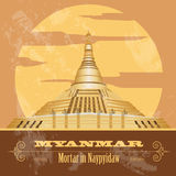 Myanmar (Burma)  landmarks. Retro styled image. Vector illustration Royalty Free Stock Images