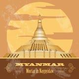 Myanmar (Burma)  landmarks. Retro styled image Royalty Free Stock Images