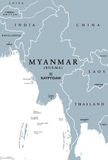 Myanmar Burma political map. Myanmar political map with capital Naypyidaw. English labeling. Republic of the Union of Myanmar, also known as Burma. Country and Royalty Free Stock Images