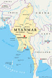 Myanmar Burma Political Map. Myanmar political map with capital Naypyidaw, national borders, important cities, rivers and lakes. Also called Burma and old Royalty Free Stock Photo