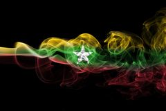 Myanmar, Burma flag smoke. Myanmar, Burma smoke flag isolated on a black background Royalty Free Stock Photo