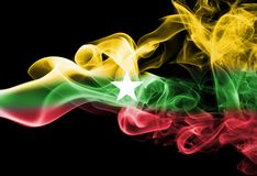 Myanmar, Burma flag smoke. Myanmar, Burma smoke flag isolated on a black background Stock Images