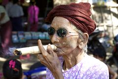 Myanmar Burma Woman Cheroot Cigar Royalty Free Stock Photos