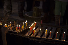 Myanmar,  candles in the temple Royalty Free Stock Photography