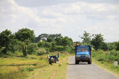 Myanmar country landscape with small truck Royalty Free Stock Photo