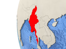 Myanmar on 3D globe. Map of Myanmar on globe with watery blue oceans and landmass with visible country borders. 3D illustration Royalty Free Stock Photo