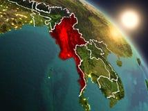 Myanmar de l'espace pendant le lever de soleil Photos stock