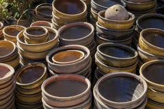 Myanmar, earthen pots stock images