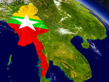 Myanmar with embedded flag on Earth Royalty Free Stock Photos
