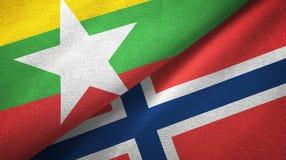 Myanmar en Noorwegen twee vlaggen textieldoek, stoffentextuur royalty-vrije illustratie