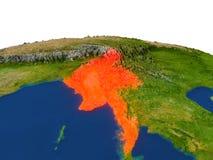 Myanmar en rojo de la órbita libre illustration