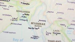 Myanmar en un mapa almacen de video