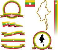 Myanmar-Fahnen-Satz Stockfotos