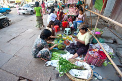 Myanmar February 2010. Roadside stalls  Royalty Free Stock Images