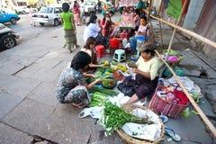 Myanmar February 2010. Roadside stalls  Royalty Free Stock Images