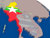 Myanmar with flag Stock Image
