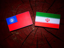 Myanmar flag with Iranian flag on a tree stump isolated. Myanmar flag with Iranian flag on a tree stump Stock Photography