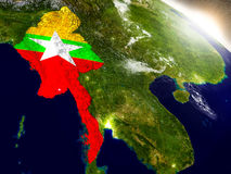Myanmar with flag in rising sun Royalty Free Stock Photo