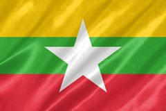 Myanmar flagga royaltyfri illustrationer